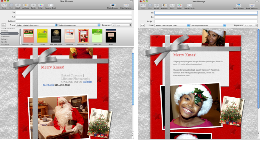 Using Mails Stationery For Seasons Greetings Applematters